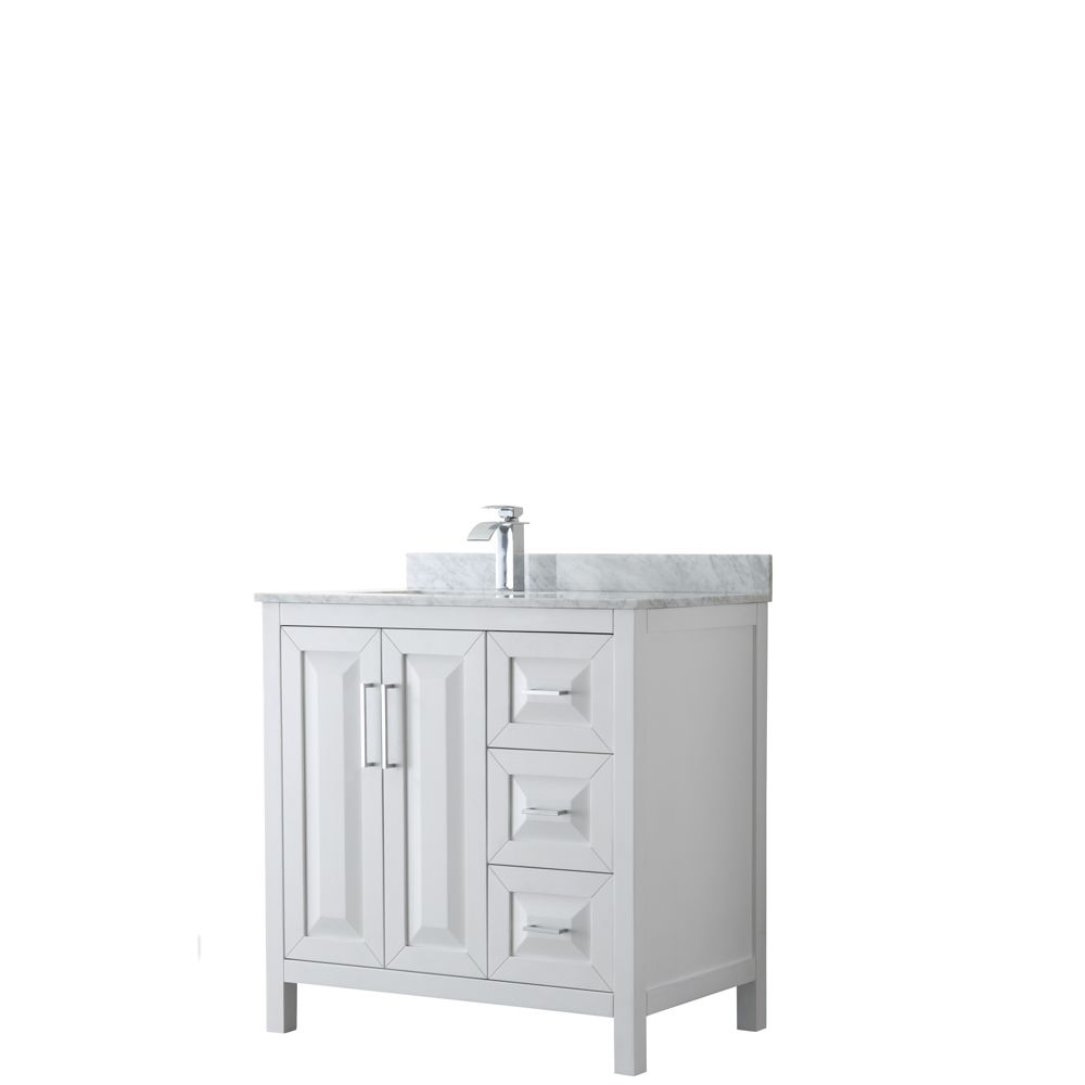 Daria 36 inch Single Vanity in White, White Carrara Marble Top, Square Sink, No Mirror