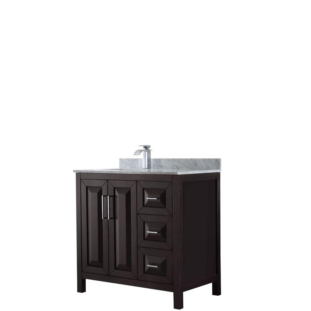 Daria 36 inch Single Vanity in Dark Espresso, White Carrara Marble Top, Square Sink, No Mirror