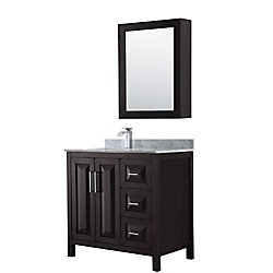 Wyndham Collection Daria 36 inch Single Vanity in Dark Espresso, White Carrara Marble Top, Square Sink, Medicine Cabinet