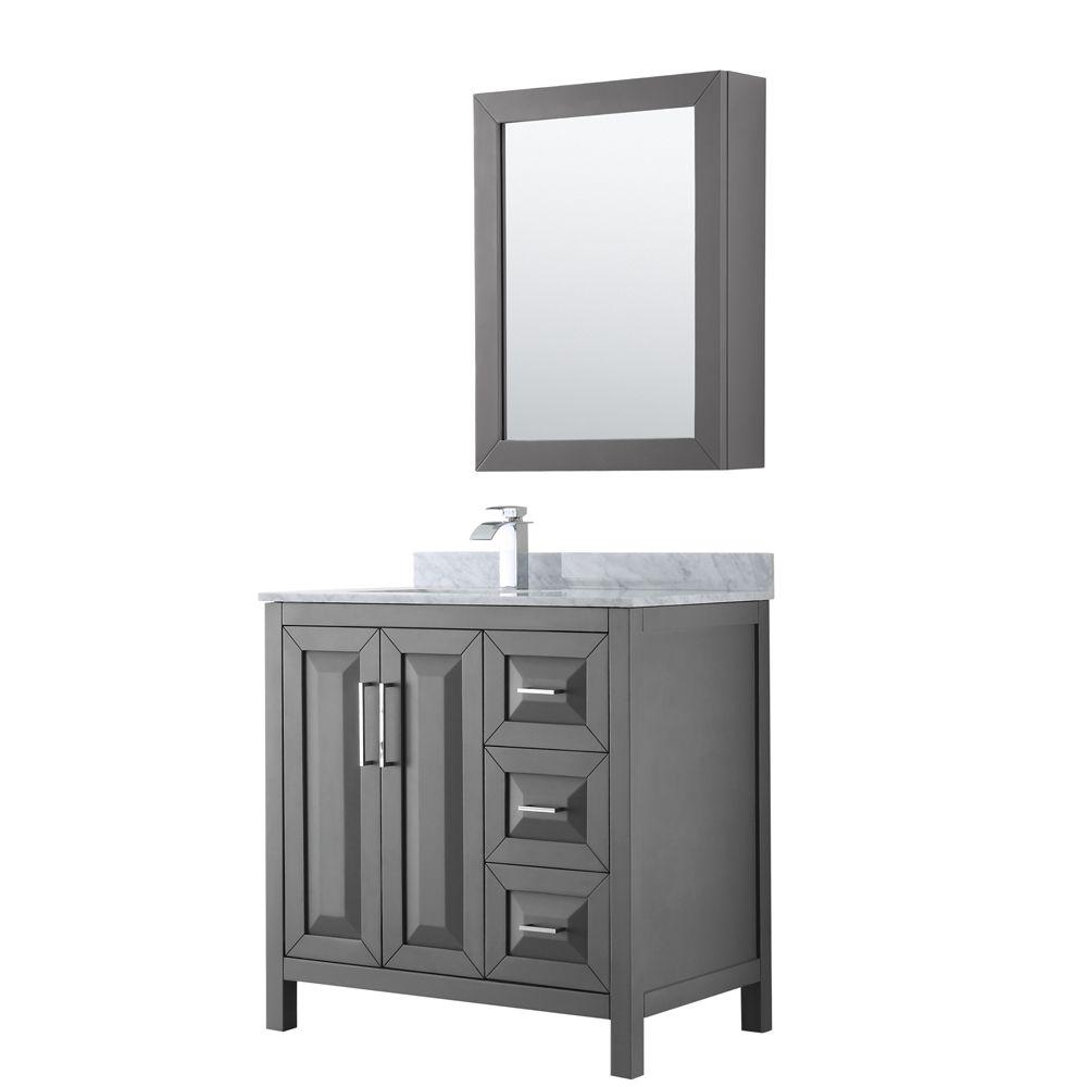Wyndham Collection Daria 36 inch Single Vanity in Dark Gray, White Carrara Marble Top, Square Sink, Medicine Cabinet