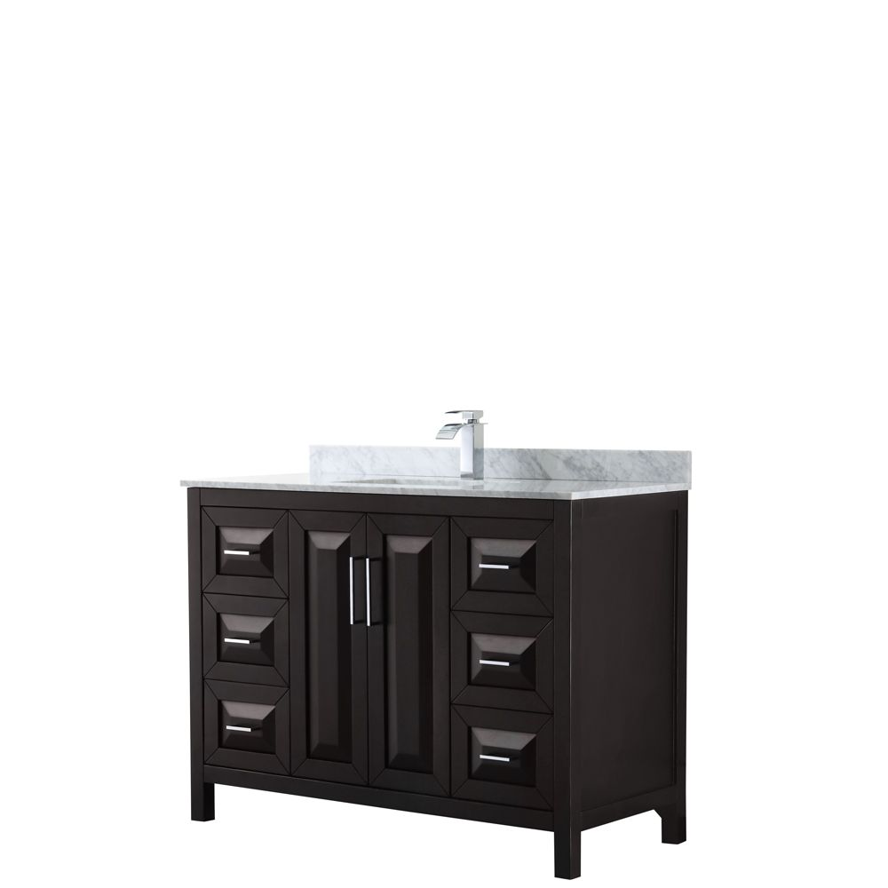 Wyndham Collection Daria 48 inch Single Vanity in Dark Espresso, White Carrara Marble Top, Square Sink, No Mirror