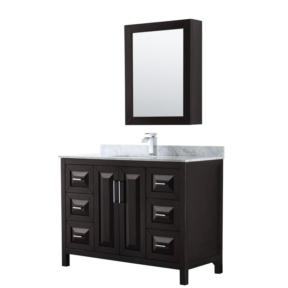 Daria 48 inch Single Vanity in Dark Espresso, White Carrara Marble Top, Square Sink, Medicine Cabinet