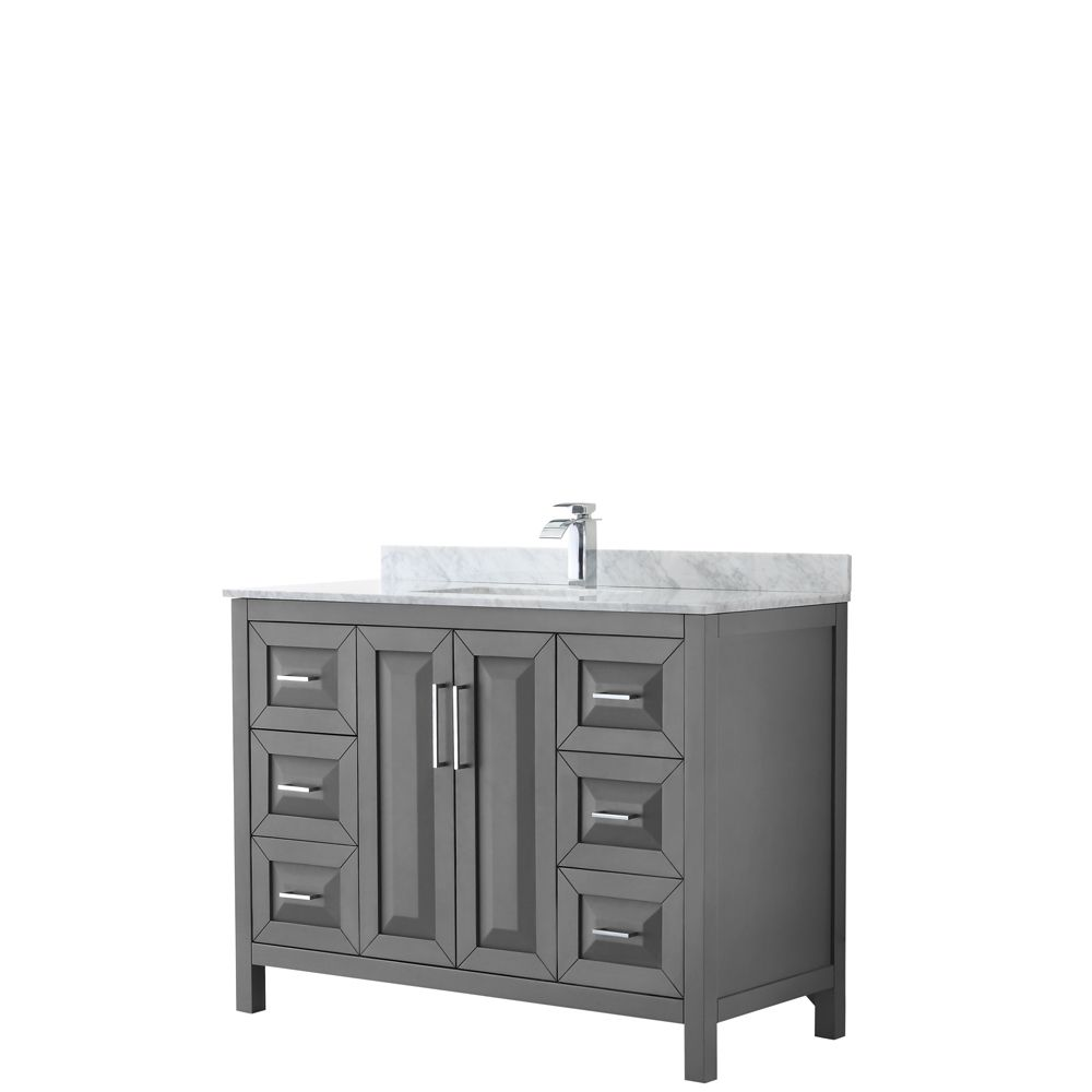 Daria 48 inch Single Vanity in Dark Gray, White Carrara Marble Top, Square Sink, No Mirror