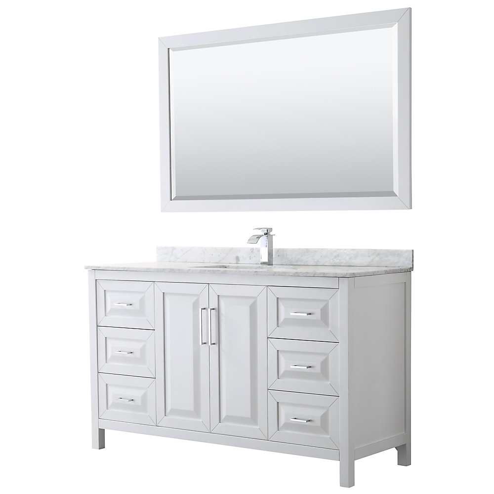 Wyndham Collection Daria 60 inch Single Vanity in White ...