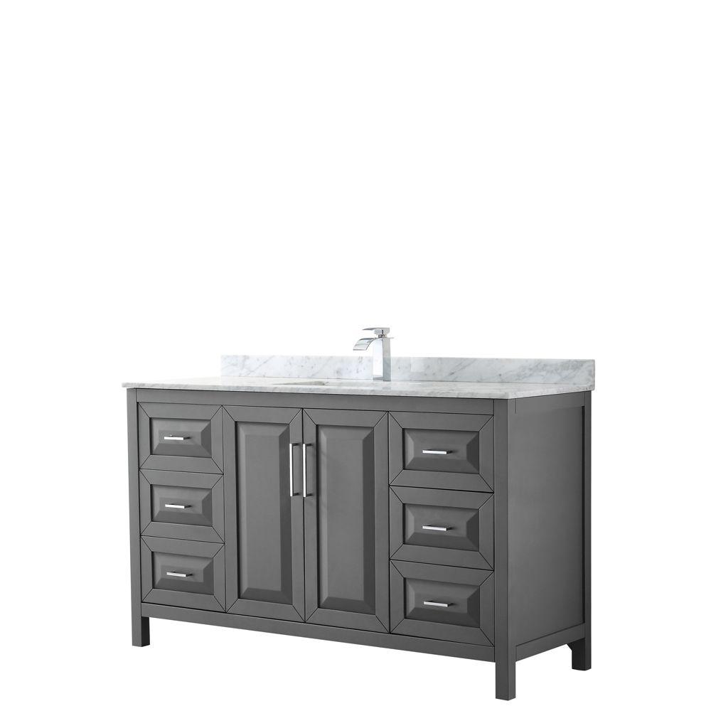 Wyndham Collection Daria 60 inch Single Vanity in Dark Gray, White Carrara Marble Top, Square Sink, No Mirror