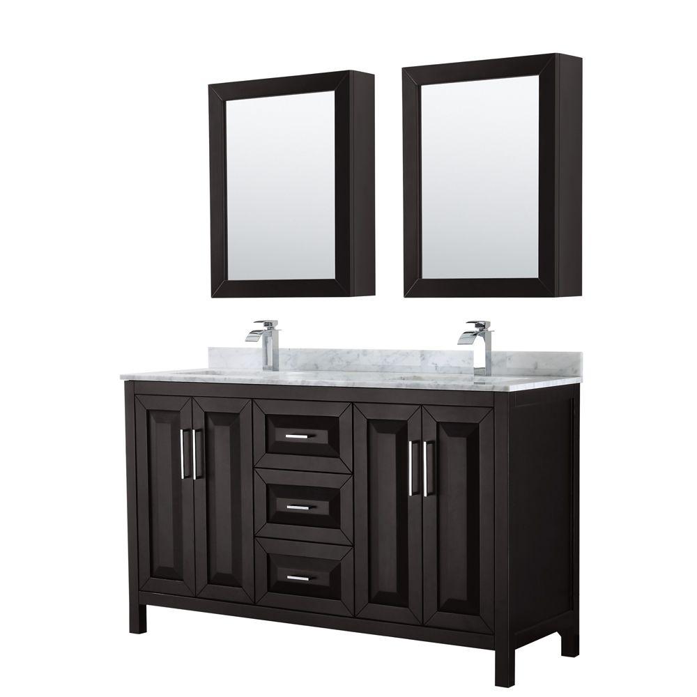 Wyndham Collection Daria 60 inch Double Vanity in Dark Espresso, White Carrara Marble Top, Square Sinks, Medicine Cabinets