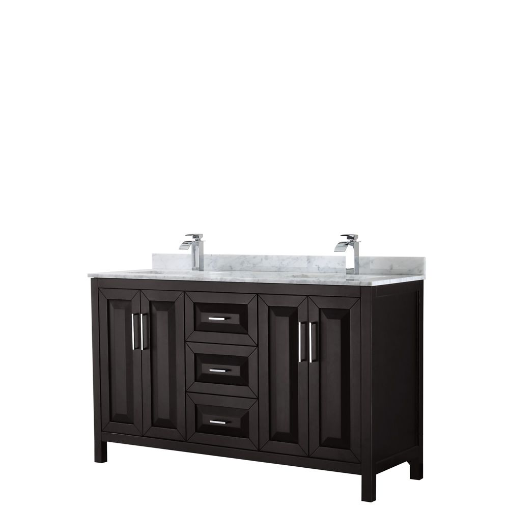 Daria 60 inch Double Vanity in Dark Espresso, White Carrara Marble Top, Square Sinks, No Mirror