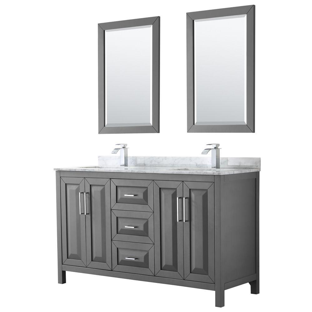 Daria 60 inch Double Vanity in Dark Gray, White Carrara Marble Top, Square Sinks, 24 inch Mirrors