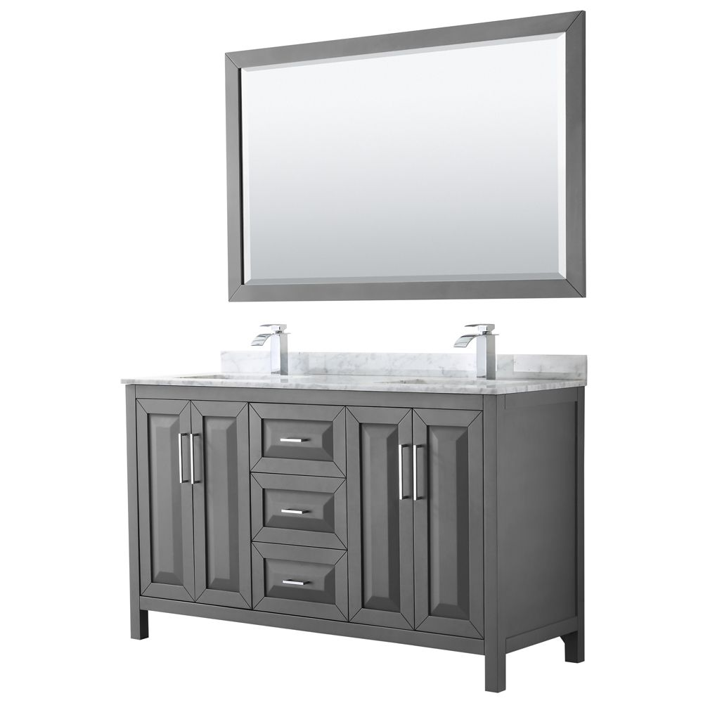Daria 60 inch Double Vanity in Dark Gray, White Carrara Marble Top, Square Sinks, 58 inch Mirror