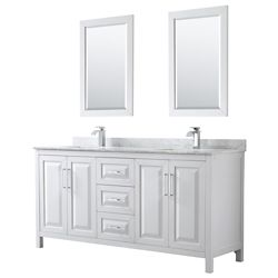 Wyndham Collection Daria 72 inch Double Vanity in White, White Carrara Marble Top, Square Sinks, 24 inch Mirrors