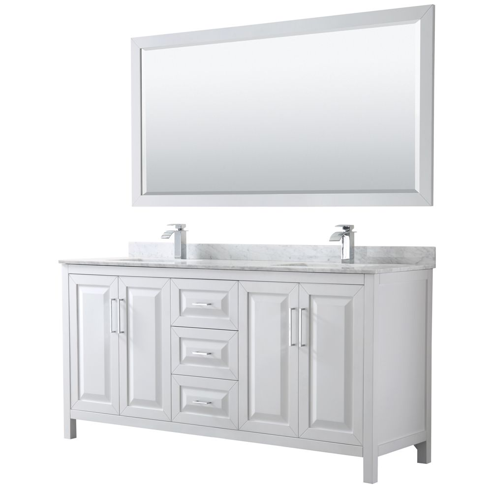 Wyndham Collection Daria 72 inch Double Vanity in White, White Carrara Marble Top, Square Sinks, 70 inch Mirror