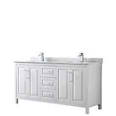 Daria 72 inch Double Vanity in White, White Carrara Marble Top, Square Sinks, No Mirror