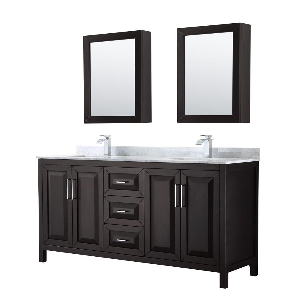 Daria 72 inch Double Vanity in Dark Espresso, White Carrara Marble Top, Square Sinks, Medicine Cabinets