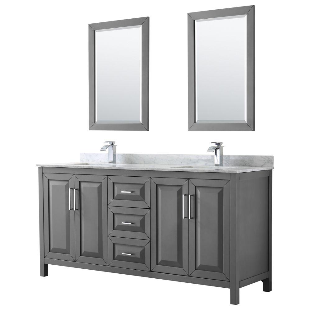 Daria 72 inch Double Vanity in Dark Gray, White Carrara Marble Top, Square Sinks, 24 inch Mirrors