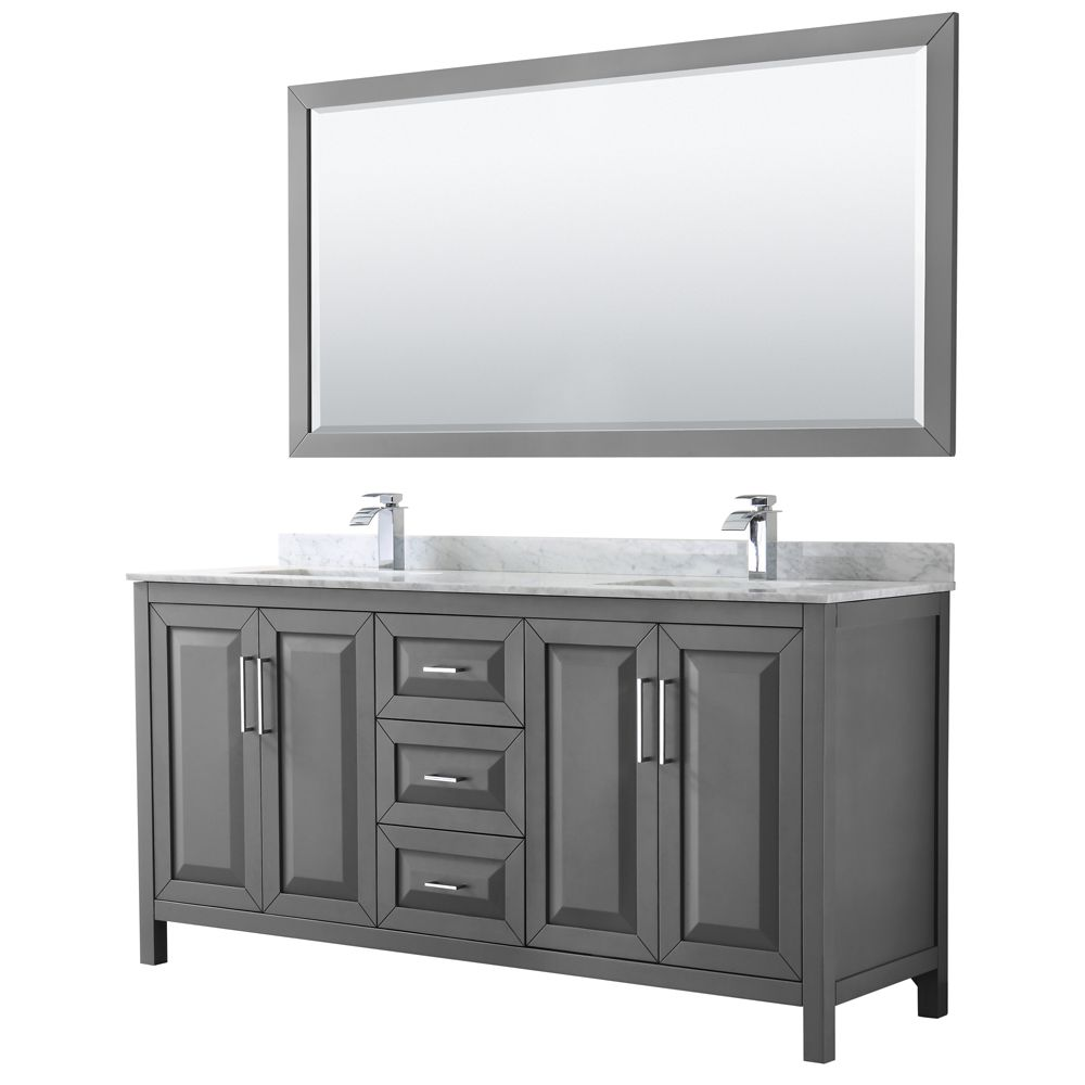 Wyndham Collection Daria 72 inch Double Vanity in Dark Gray, White Carrara Marble Top, Square Sinks, 70 inch Mirror