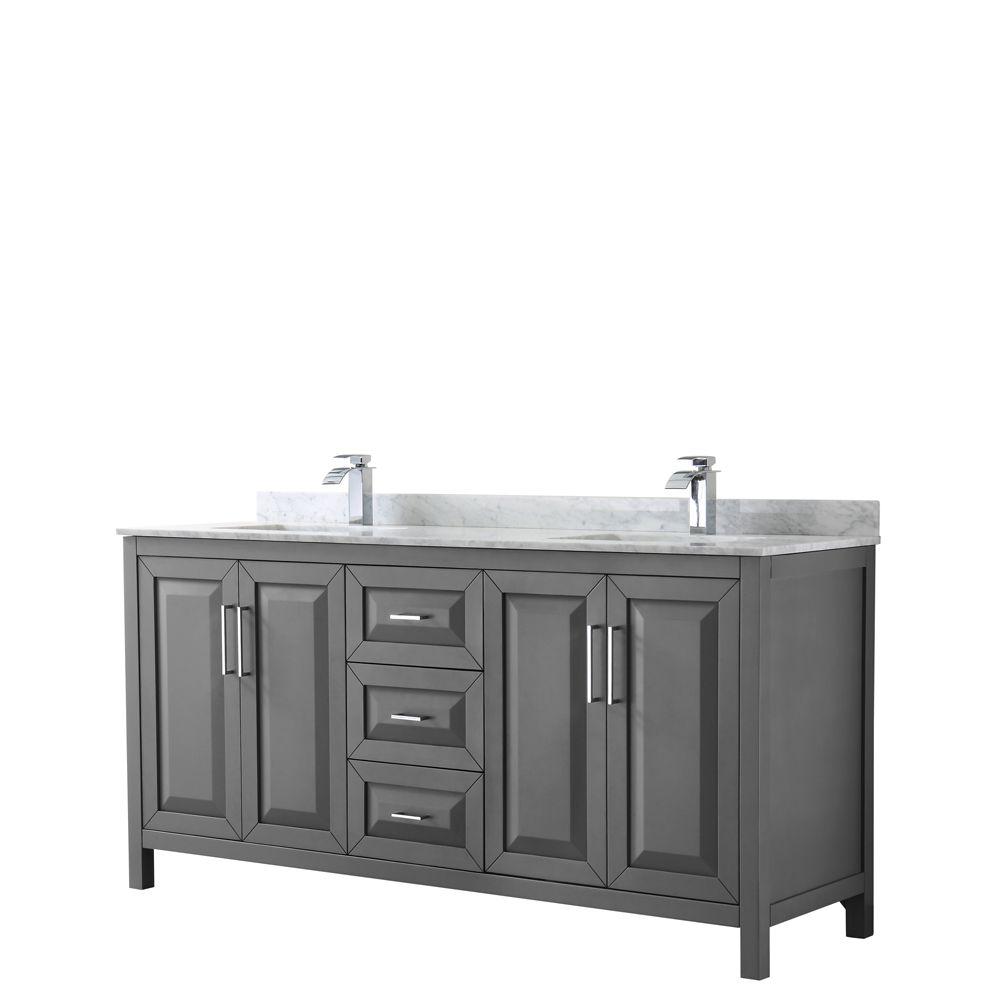 Daria 72 inch Double Vanity in Dark Gray, White Carrara Marble Top, Square Sinks, No Mirror
