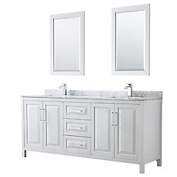 Wyndham Collection Daria 80 inch Double Vanity in White, White Carrara Marble Top, Square Sinks, 24 inch Mirrors