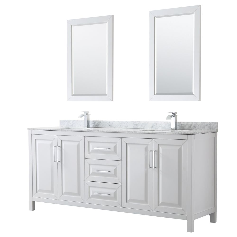 Daria 80 inch Double Vanity in White, White Carrara Marble Top, Square Sinks, 24 inch Mirrors