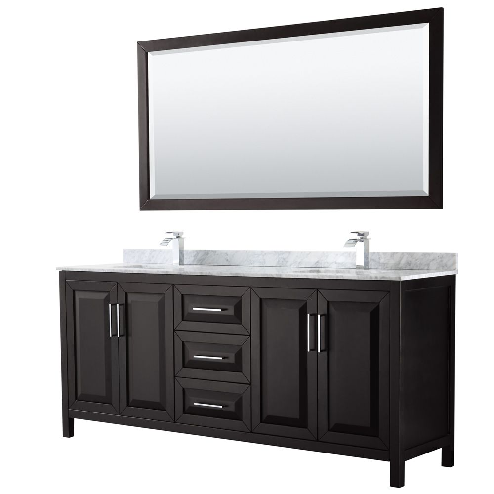 Daria 80 inch Double Vanity in Dark Espresso, White Carrara Marble Top, Square Sinks, 70 inch Mirror