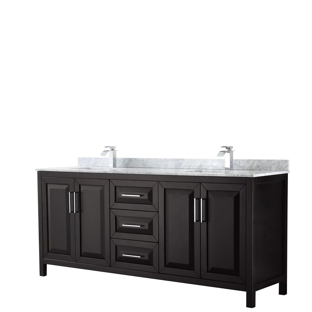 Daria 80 inch Double Vanity in Dark Espresso, White Carrara Marble Top, Square Sinks, No Mirror