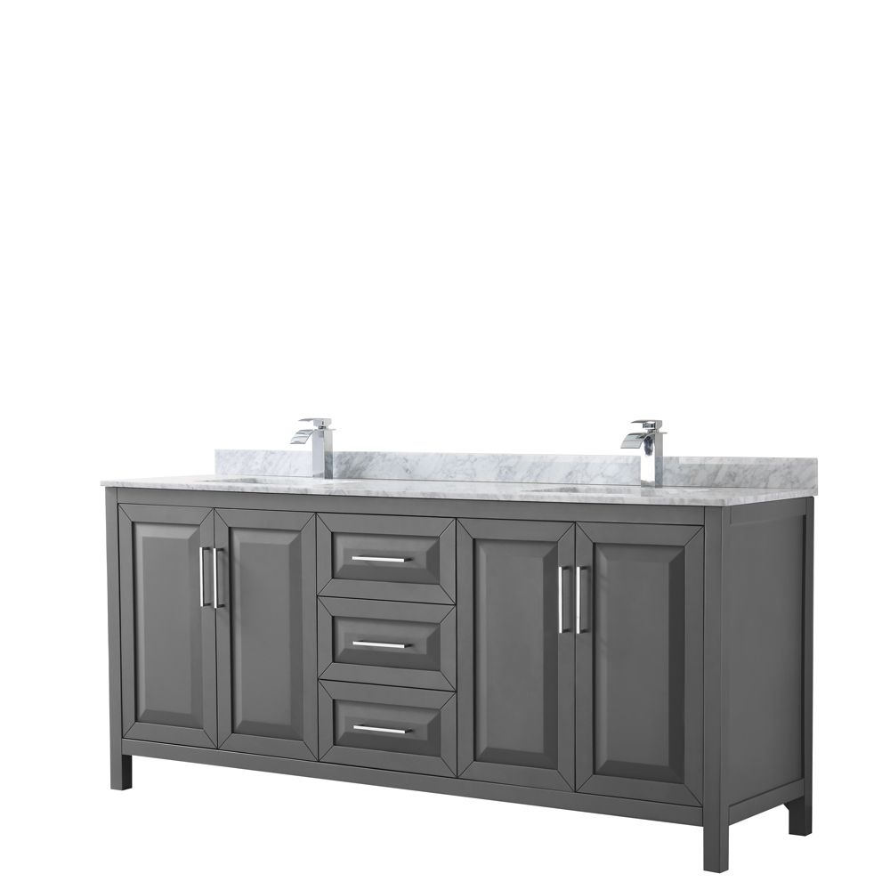 Daria 80 inch Double Vanity in Dark Gray, White Carrara Marble Top, Square Sinks, No Mirror