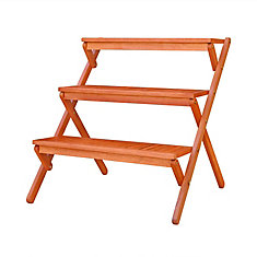 Malibu Outdoor Three-Layer Patio Wood Garden Plant Stand