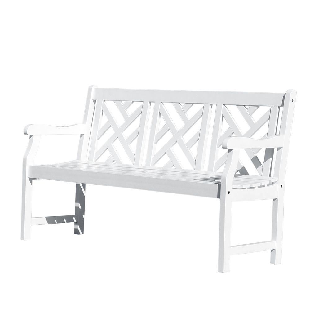 Bradley 5 ft. Wooden Patio Garden Bench in White