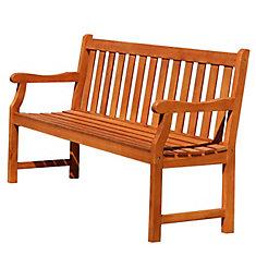 Malibu 5 ft. Slatted Back Wooden Patio Garden Bench