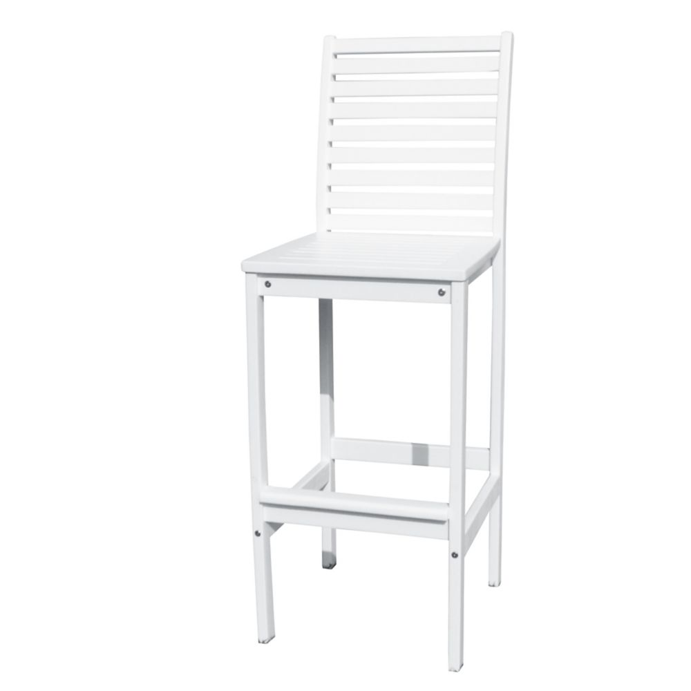 Bradley Outdoor Patio Wood Bar Chair in White