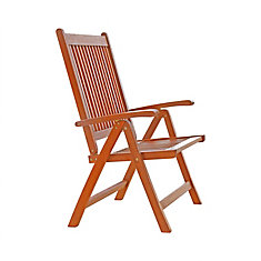 Malibu 5-Position Wood Patio Reclining Chair