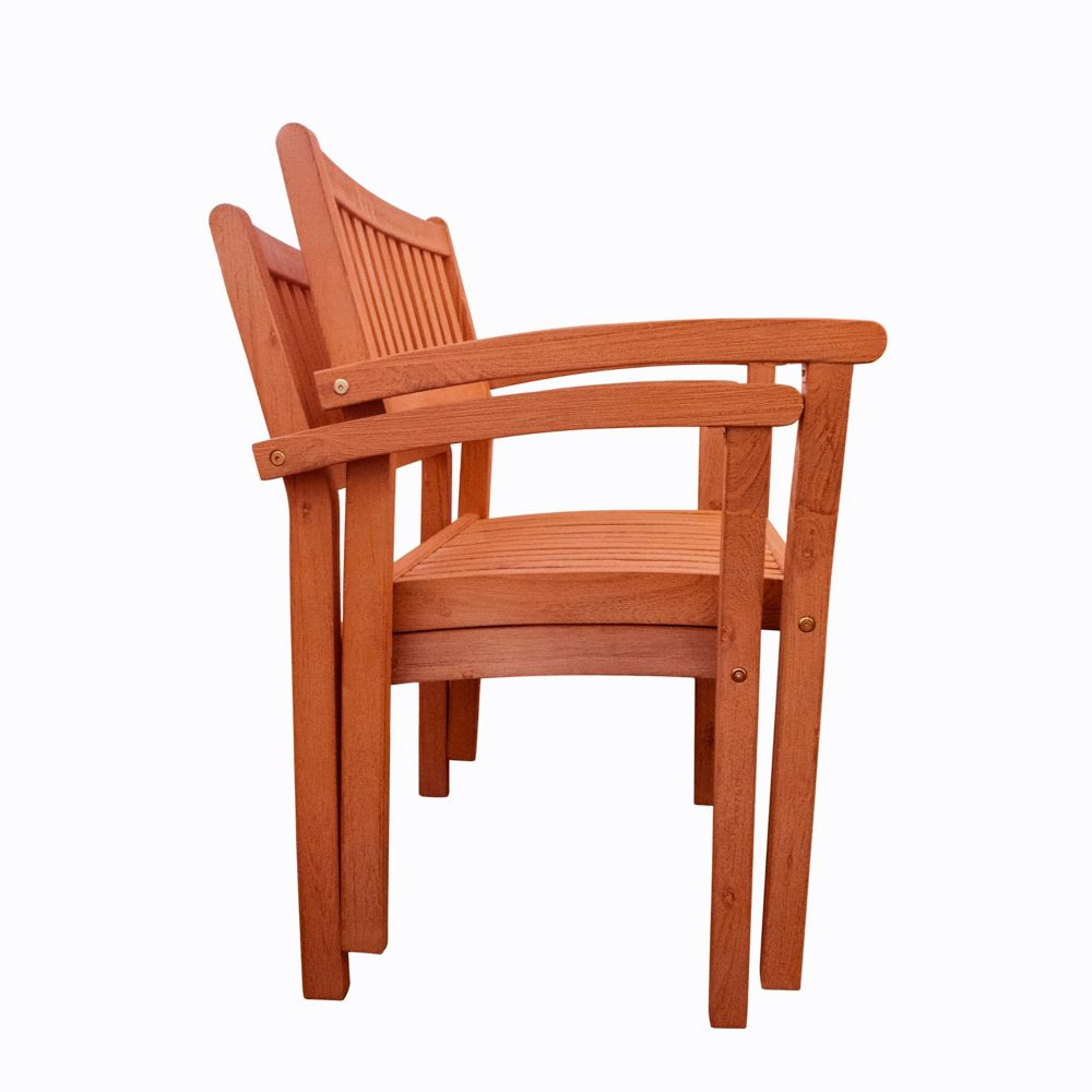Malibu Outdoor Patio Wood Garden Stacking Armchair (Set of 2)