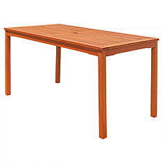Malibu Outdoor Patio Wood Rectangular Dining Table
