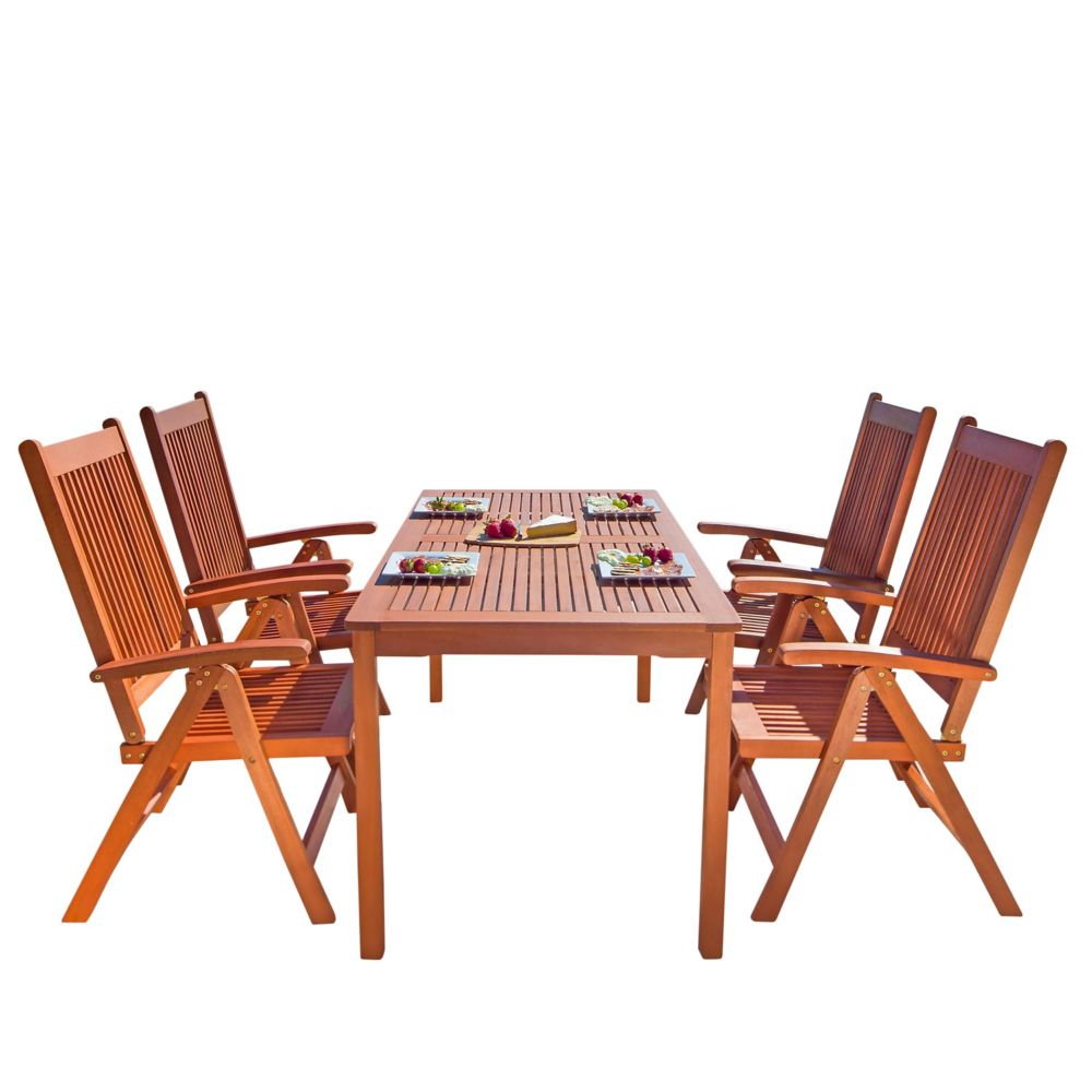 Malibu Outdoor Patio 5-piece Wood Dining Set with Reclining Chairs
