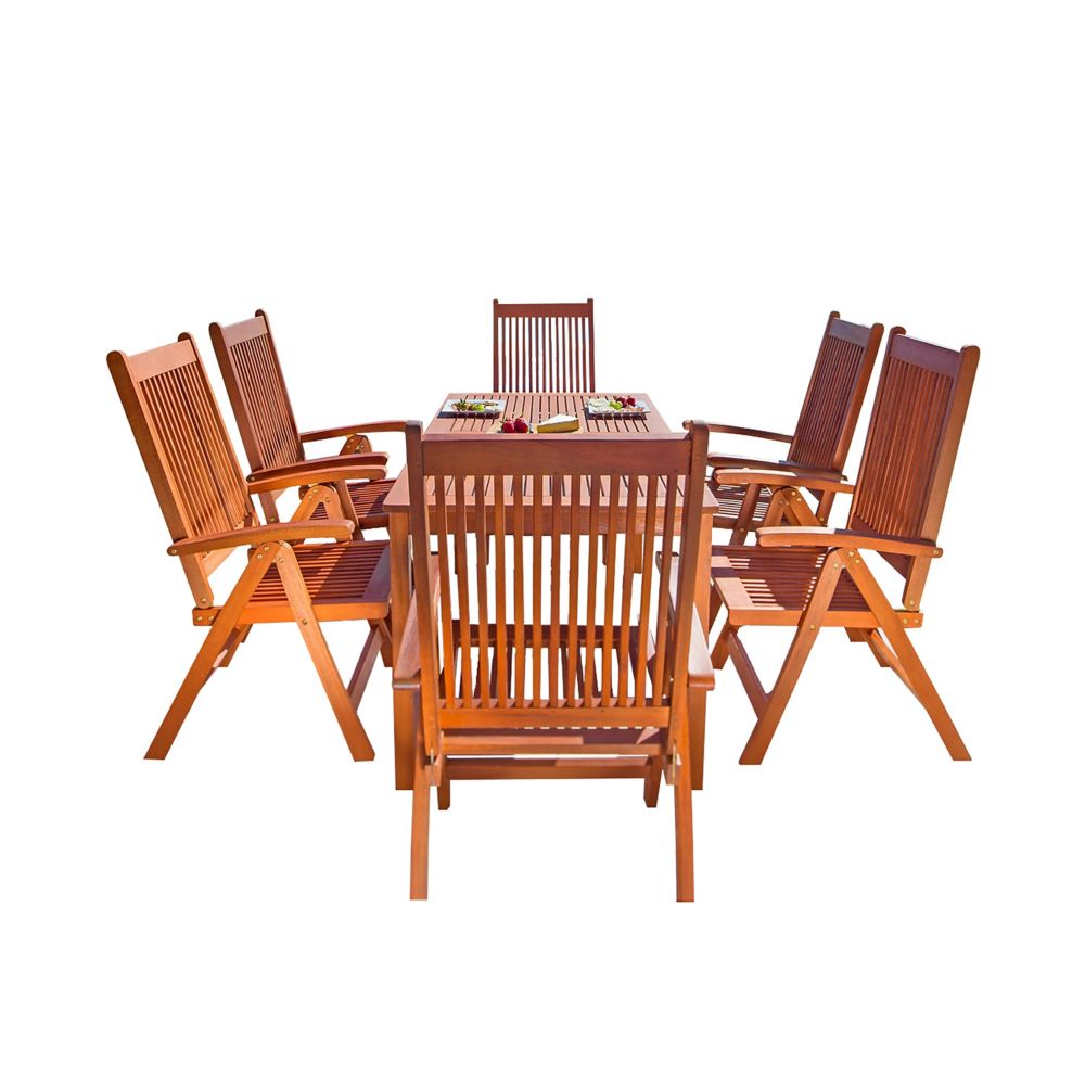 Vifah Malibu 7-Piece Wooden Patio Dining Set with Reclining Chairs in Natural Finish