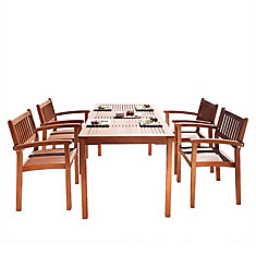 Malibu 5 pièces en bois salle à manger avec des chaises empilables V98SET9