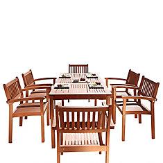 Malibu 7 pièces en bois salle à manger avec des chaises empilables V98SET10