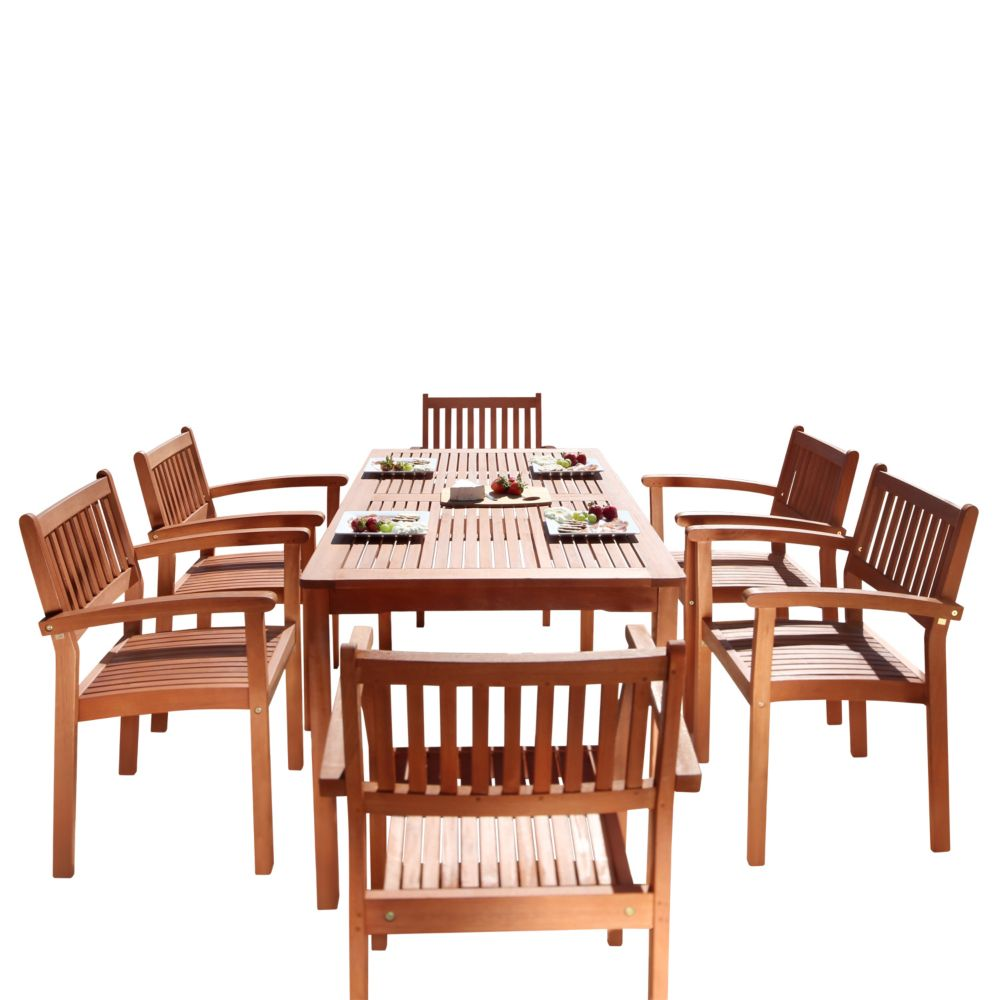 Malibu Patio 7-piece Wood Dining Set with Stacking Chairs V98SET10