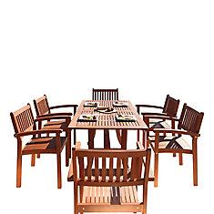 Malibu 7 pièces en bois salle à manger avec des chaises empilables V187SET4