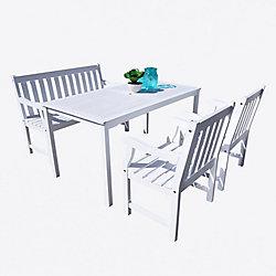 Vifah Bradley 5-Piece Wooden Patio Dining Set in White