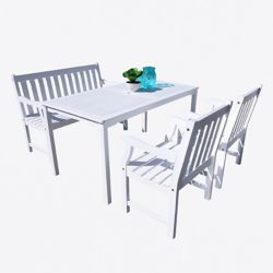 Vifah Bradley 5-Piece Wooden Patio Dining Set in White