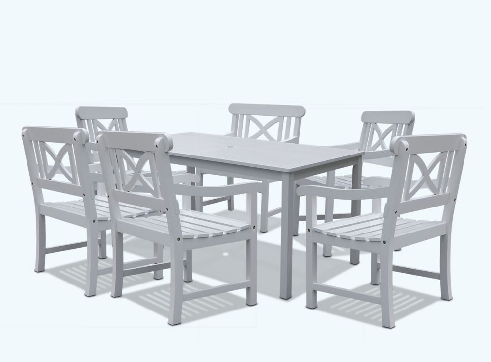 Vifah Bradley 7-Piece Wooden Patio Dining Set in White