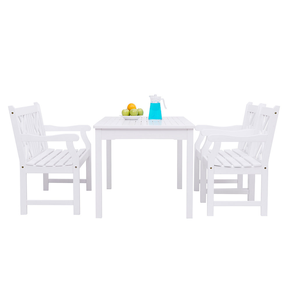 Bradley Outdoor Patio 4 Piece Wood Dining Set With 5 Ft Bench In White