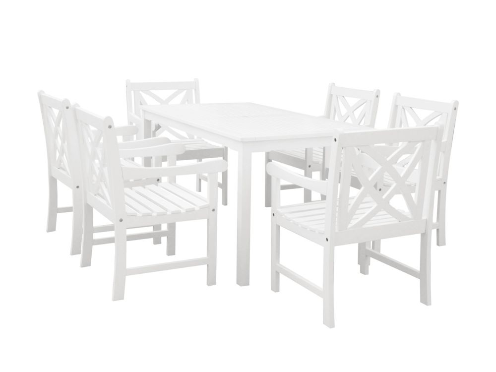 Bradley Patio 7-piece Wood Dining Set in White V1336SET19
