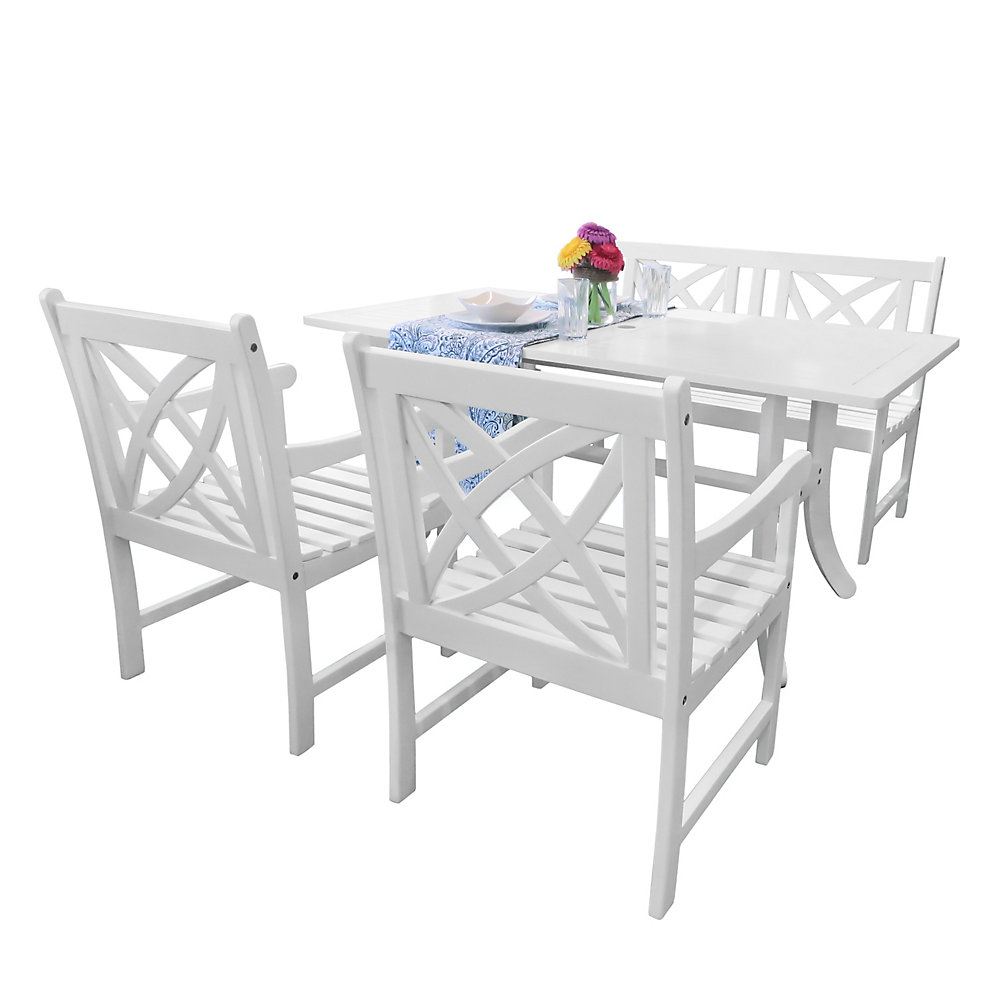 Bradley Outdoor 4 Piece Wood Patio Dining Set With 4 Ft Bench In White