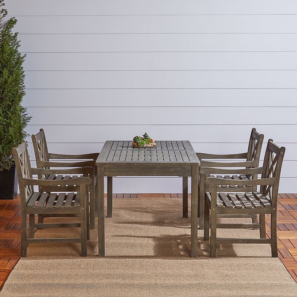 Renaissance 5-Piece Wooden Patio Dining Set in Hand-Scraped Finish