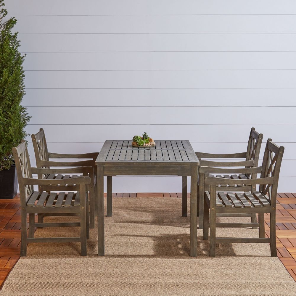 Vifah Renaissance 5-Piece Wooden Patio Dining Set in Hand-Scraped Finish