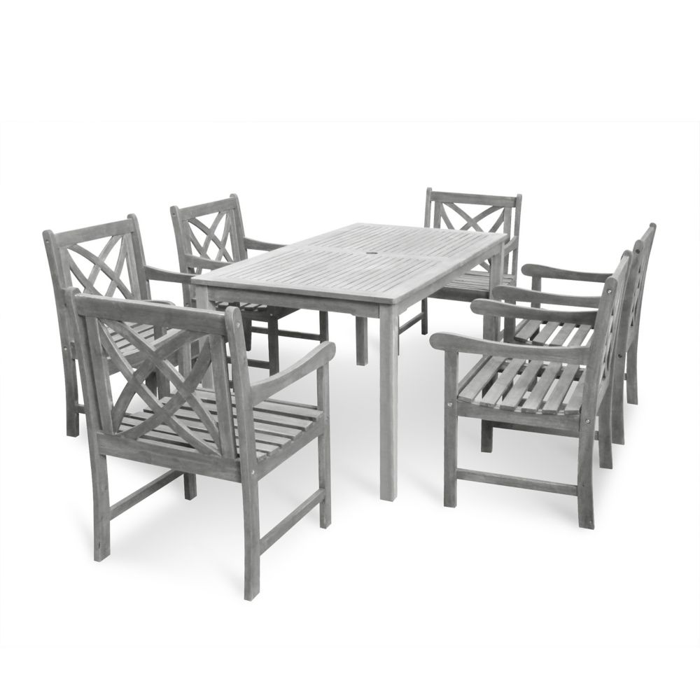 Renaissance 7-Piece Wooden Patio Dining Set in Hand-Scraped Finish