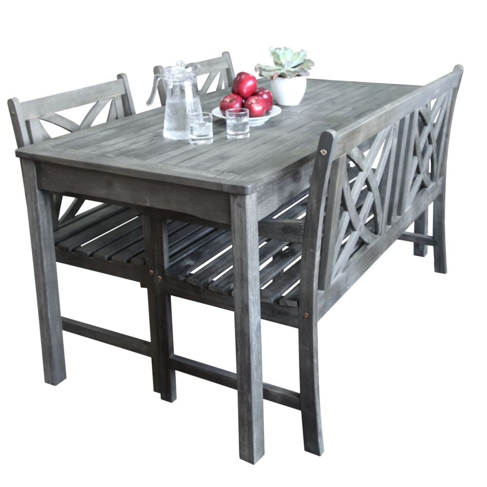 Renaissance Outdoor Patio 4-piece Hand-scraped Wood Dining Set with 4-foot Bench