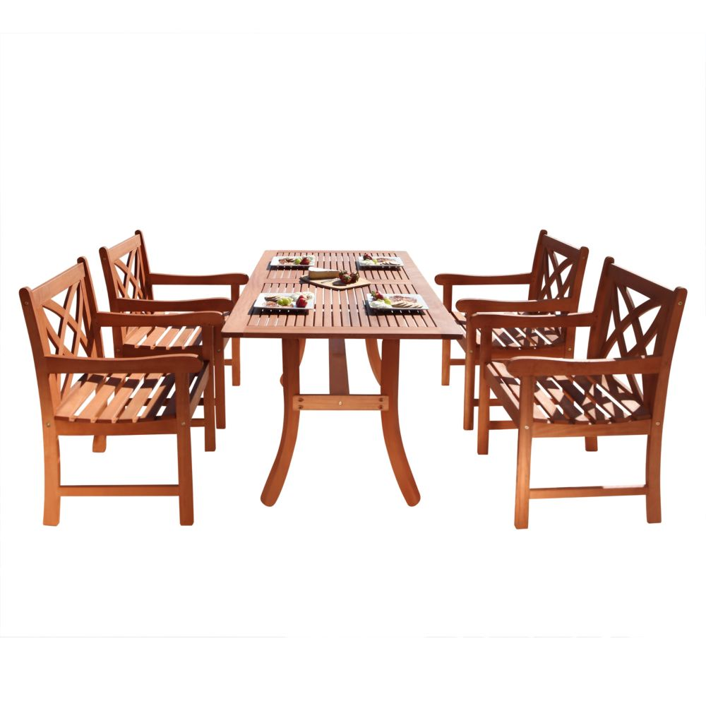 Malibu 5-Piece Wooden Patio Dining Set with Curvy Leg Table in Natural Finish