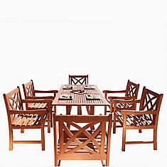 Malibu Ensemble de salle à manger en bois 7 pièces Patio avec table de jambe incurvée